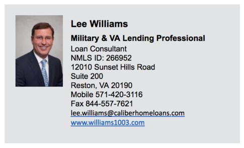 Lee Williams, Loan Consultant